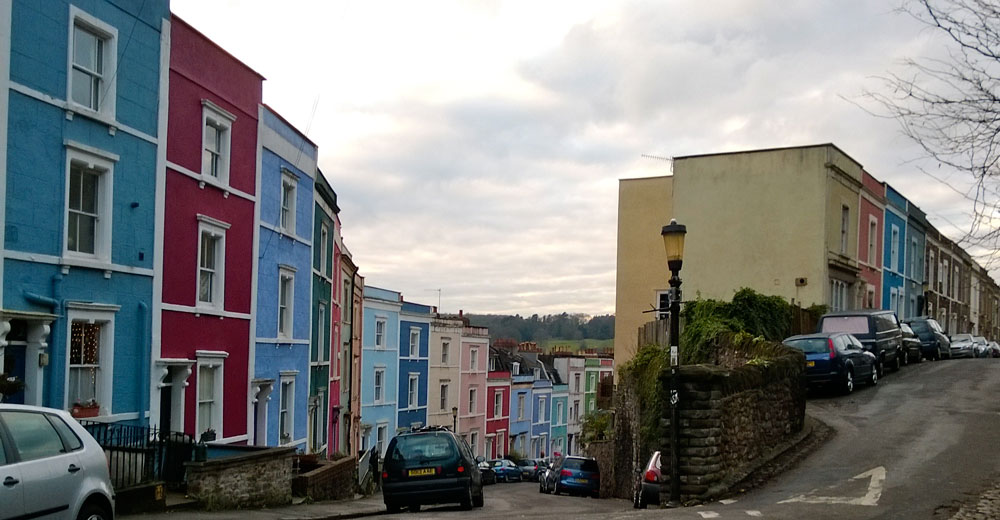 Property in Cliftonwood is often painted in bright contrasting colours helping to give the area bags of character